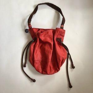 The Sak Leather Bucket Shoulder Bag Braided Strap